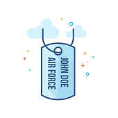 Flat Color Icon - Dog tags