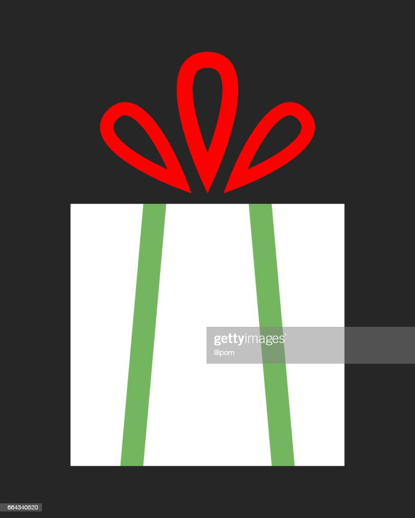 Flat color icon gift box on dark background. A surprise for the holiday