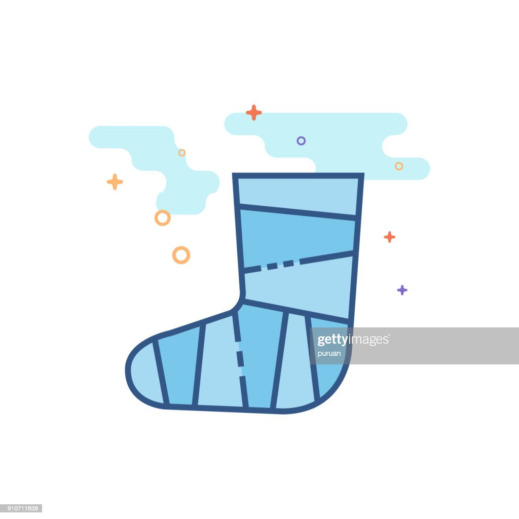 Flat Color Icon - Injured foot
