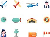 Flat Color Icons - Aviation