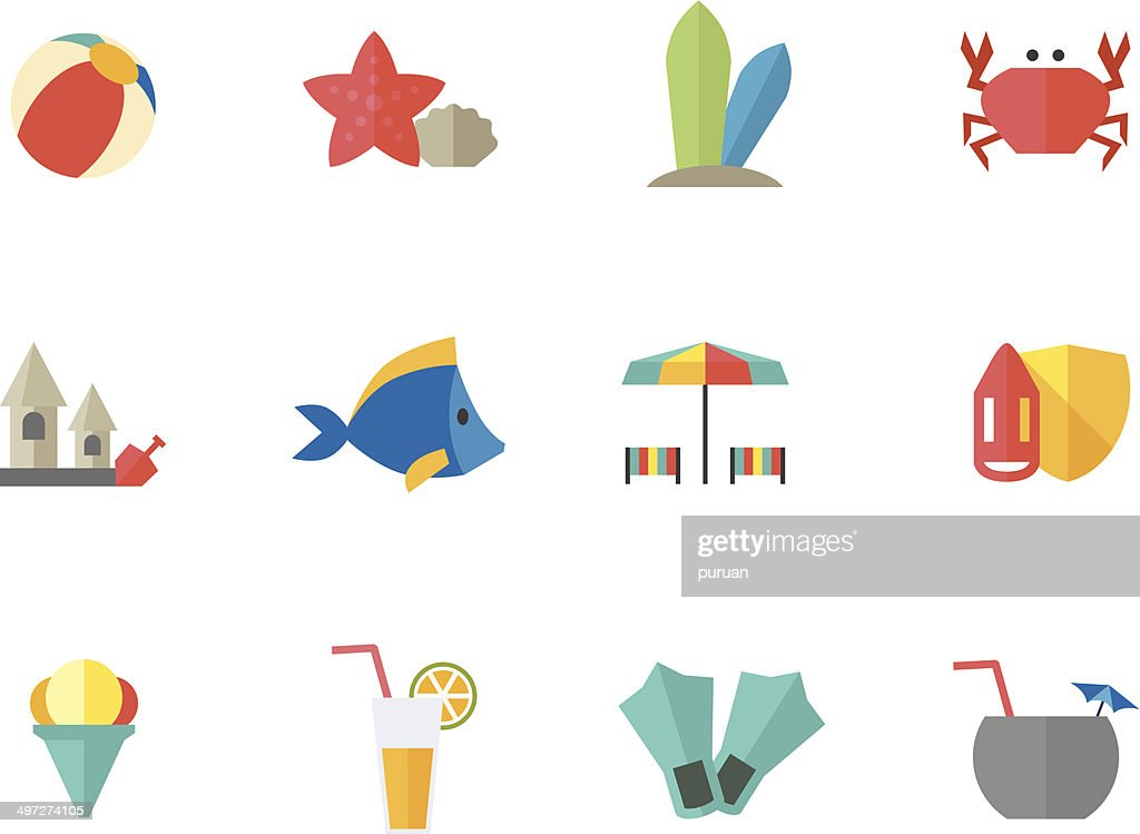 Flat Color Icons - Beach