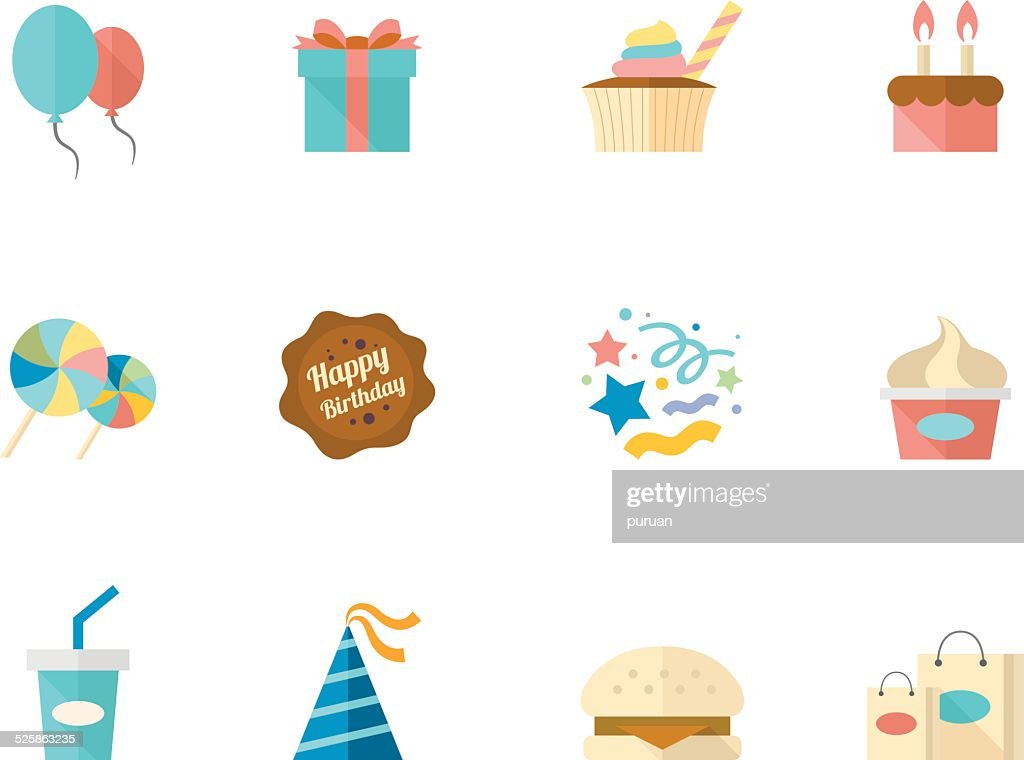 Flat Color Icons - Birthday
