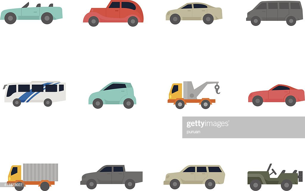 Flat Color Icons - Cars