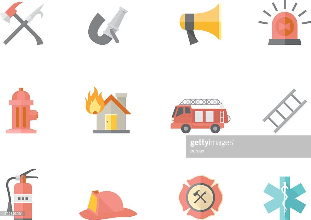 Flat Color Icons - Fire Fighter