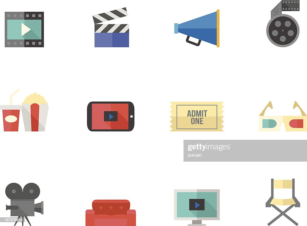 Flat Color Icons - Movie and Cinema