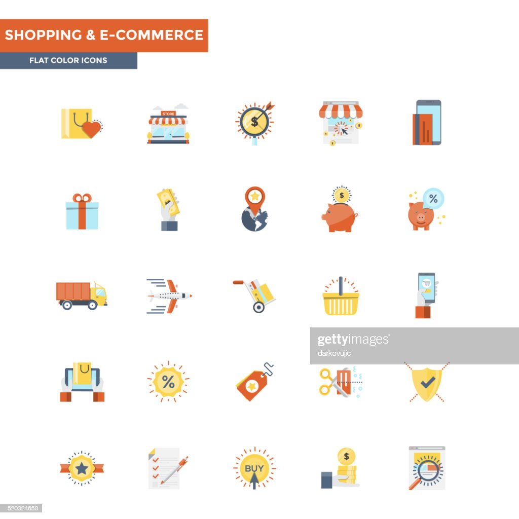 Flat Color Icons- Shopping and Ecommerce