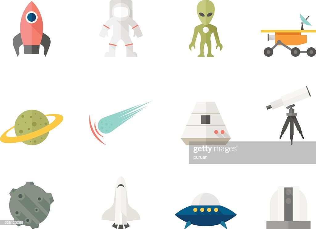 Flat Color Icons - Space