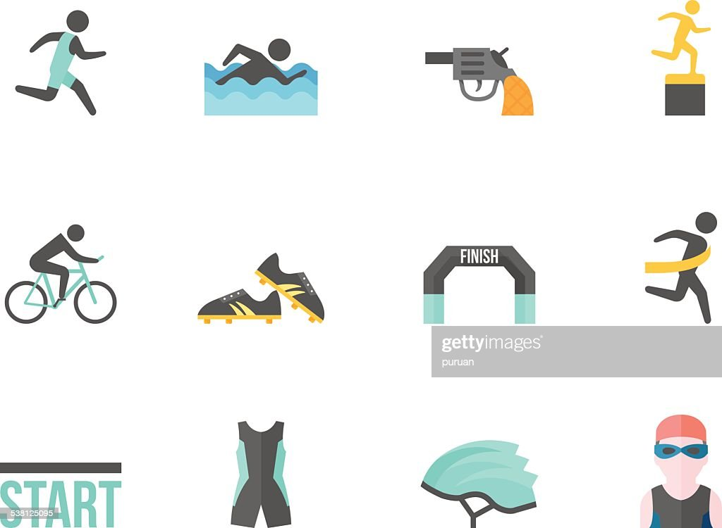 Flat Color Icons - Triathlon