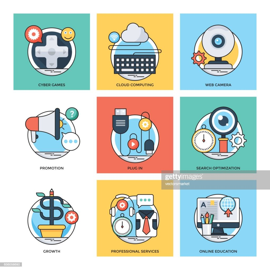 Flat Color Line Design Concepts Vector Icons 28