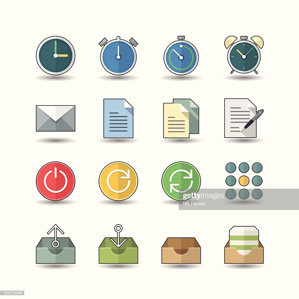 Flat color style Office & Business icons set