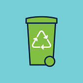 flat color trash bin with recycle sign