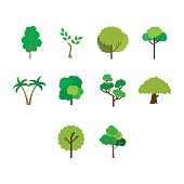 Flat color tree icon set