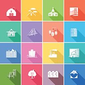 Flat Color UI Long Shadow Website Architecture Icon