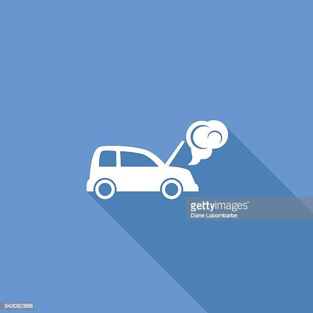 Flat Color UI Long Shadow Website Auto Insurance Icon