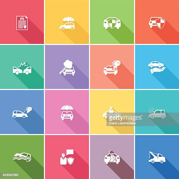 flat color ui long shadow website auto insurance icon - hailstone stock illustrations, clip art, cartoons, & icons
