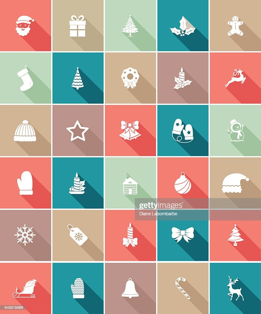 Flat Color UI Long Shadow Website Christmas Icon : stock illustration