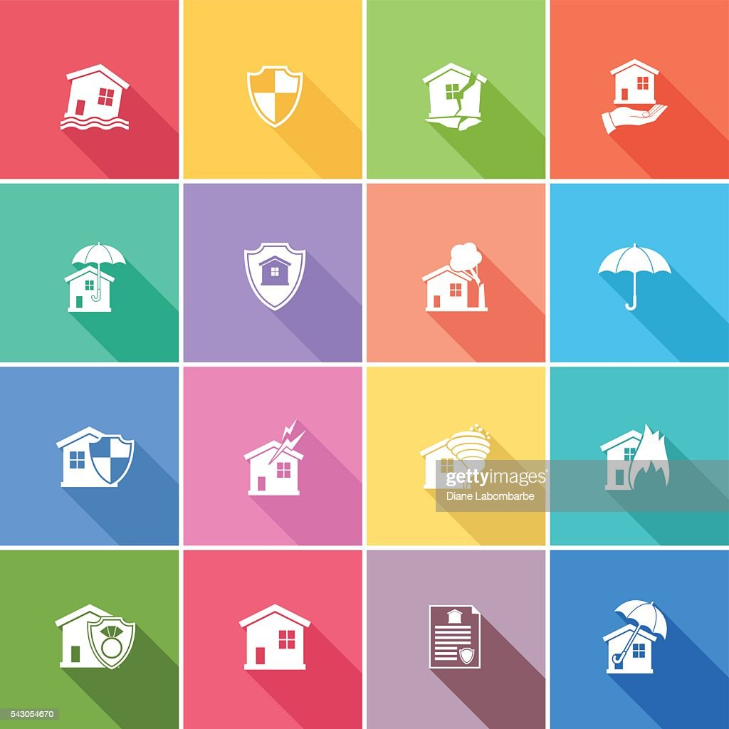 Flat Color UI Long Shadow Website Home Insurance Icon