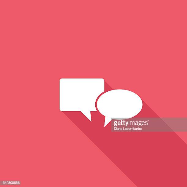 flache farbe ui langen schatten website-symbol - sprechblase für internetchat stock-grafiken, -clipart, -cartoons und -symbole