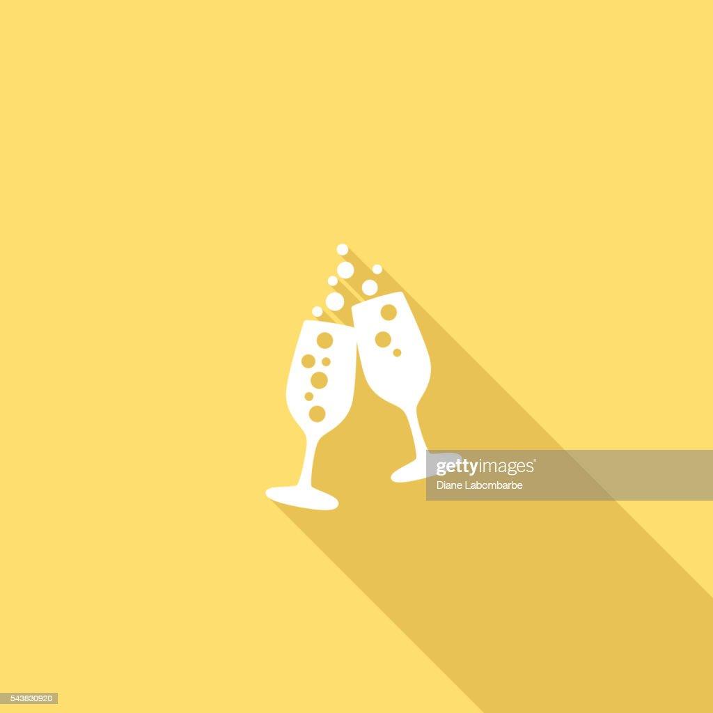 Flat Color UI Long Shadow Website Wedding Icon : Stock Illustration