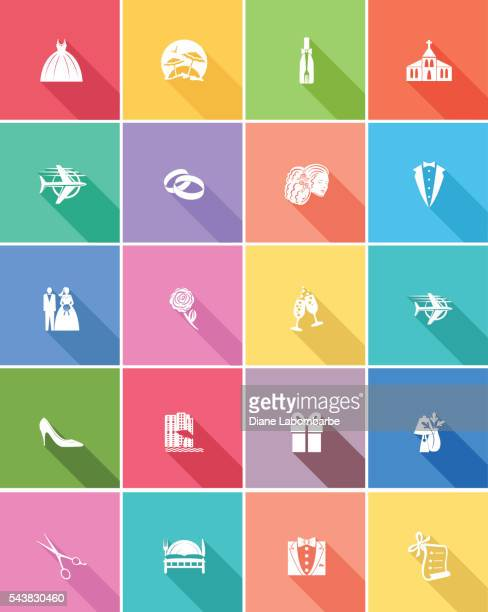 Flat Color UI Long Shadow Website Wedding Icons
