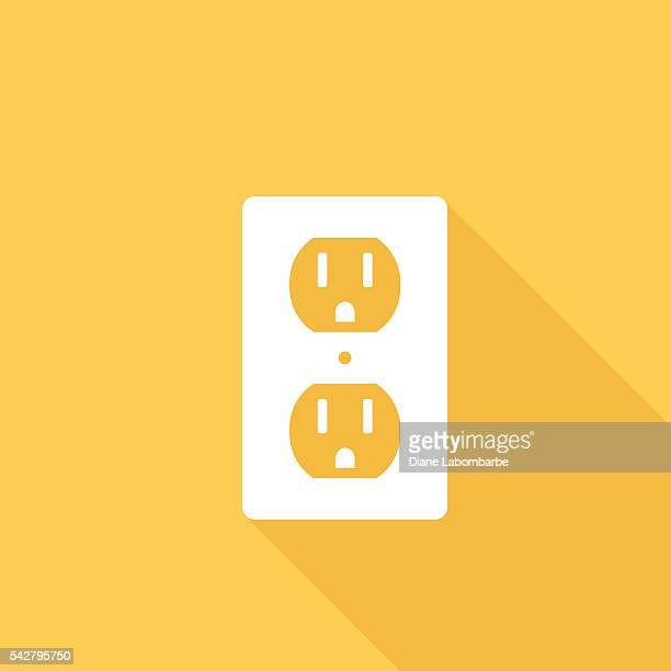 flat color ui long shadow with electric outlet - electric plug stock illustrations