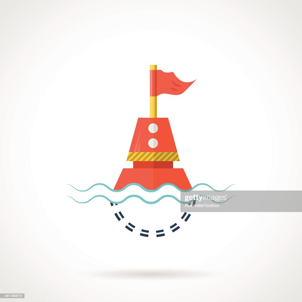 Flat color vector icon for red buoy
