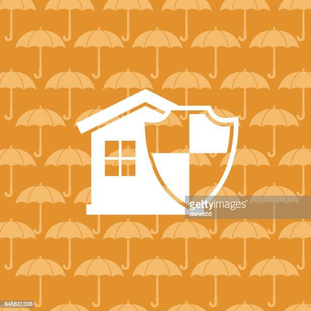 Flat Color Website Home Insurance Icon On A Patterned Base