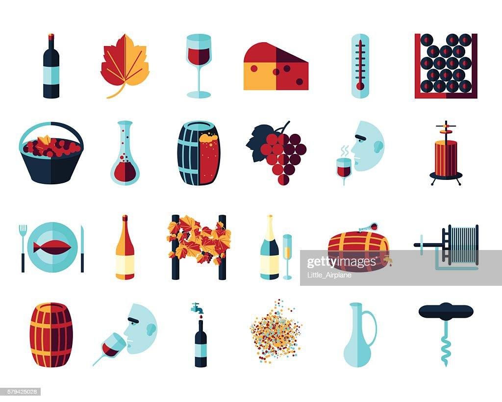 flat colored wine icons