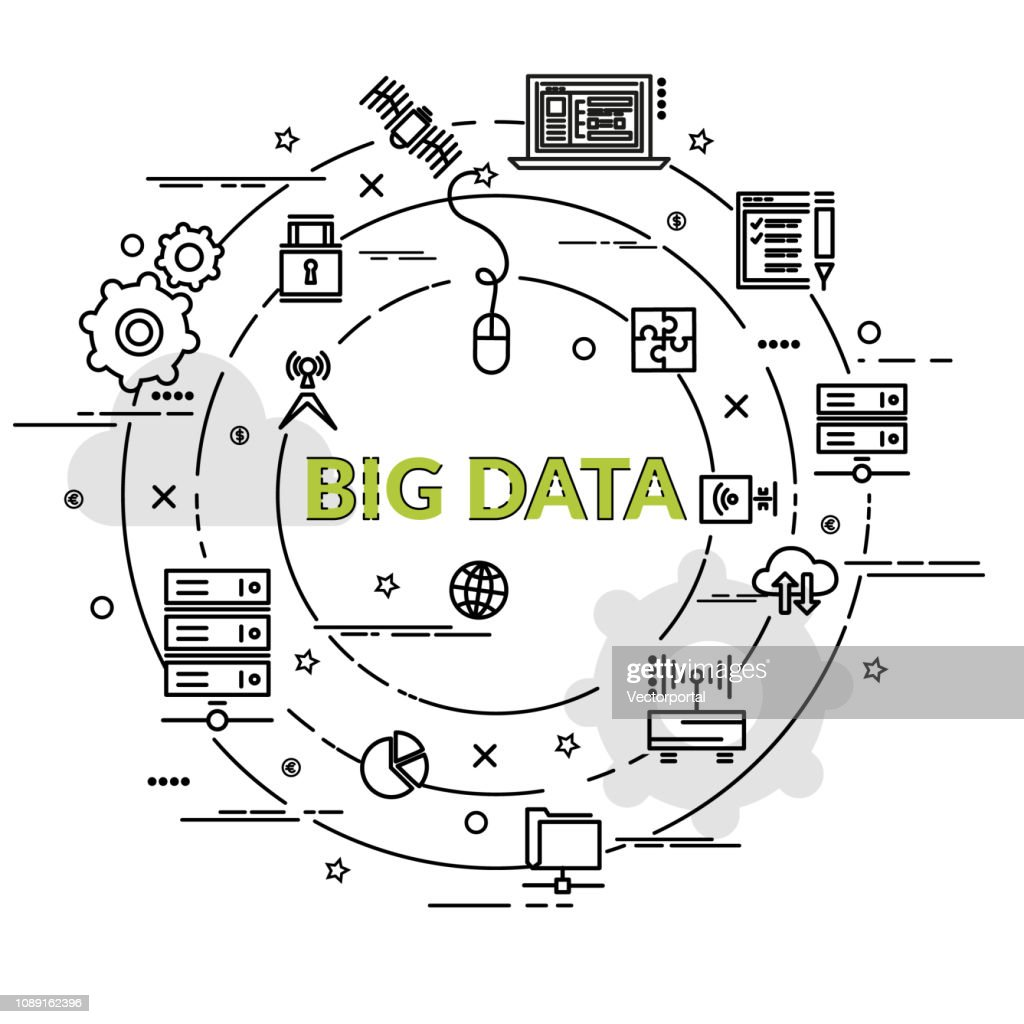 Flat colorful design concept for Big data. Infographic idea of making creative products.