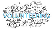 Flat colorful design concept for Volunteering.