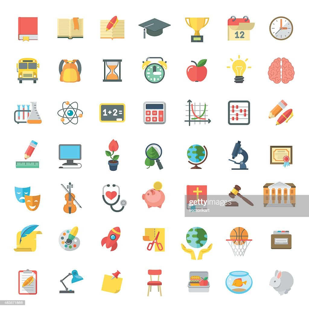 Flat Colorful School Subjects Icons Isolated on white