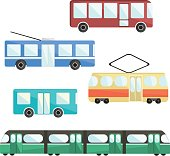 Flat colorful vector public transport set