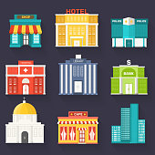 Flat colorful vector sity buildings set. Icon background concept design