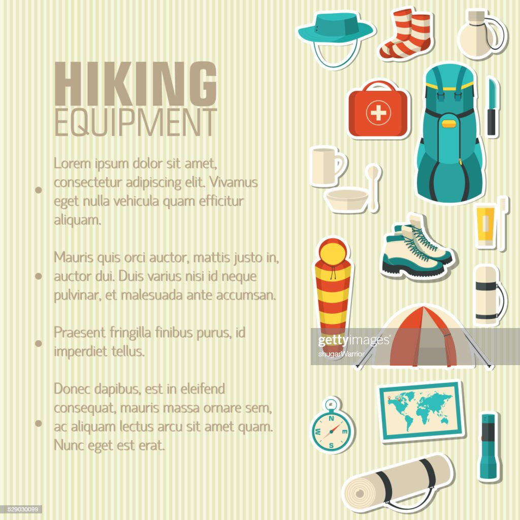 Flat colorful vector tourist equipment infographic. Icons background concept design
