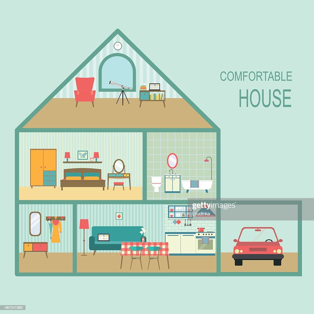 flat comfortable house section . vector illustration