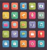 Flat Communication and Media Icons