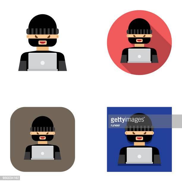 Flat Computer Hacker icons   Kalaful series