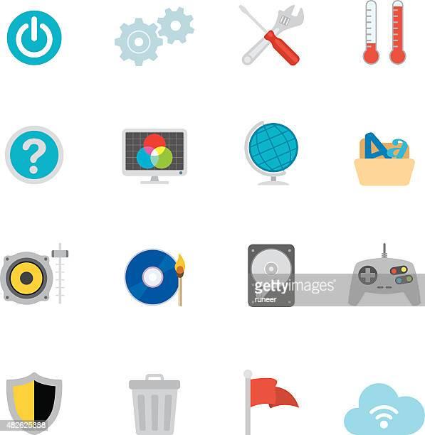 ilustraciones, imágenes clip art, dibujos animados e iconos de stock de ordenador con pantalla plana de la os (sistema operativo iconos/serie simpletoon - sistema operativo