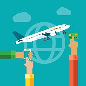 Flat concept of online paying for airplane tickets.
