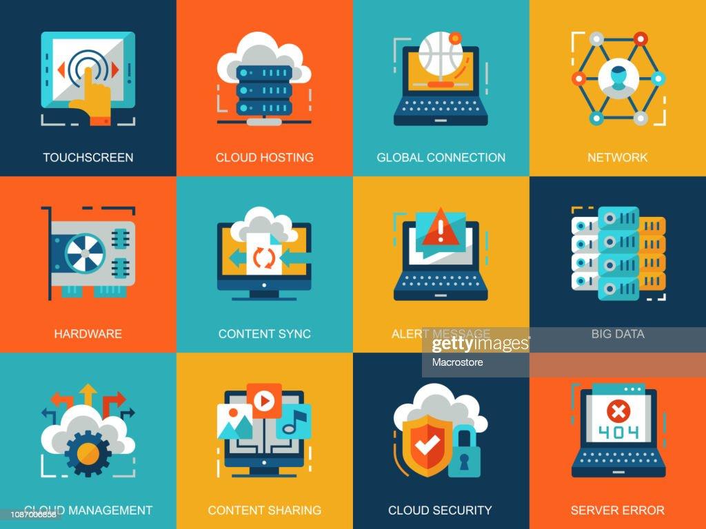 Flat conceptual cloud technology icons concepts set