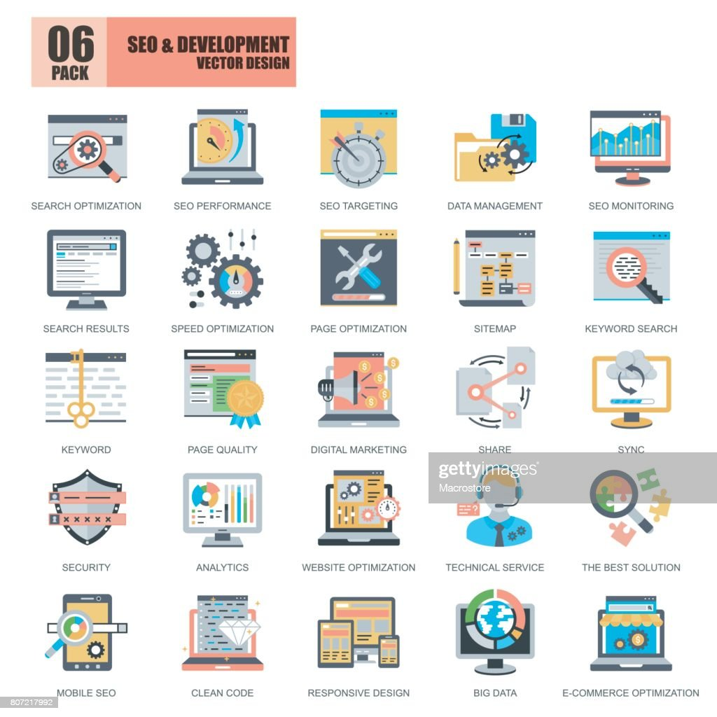 Flat conceptual icons pack SEO and web development