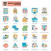 Flat conceptual icons pack shopping and e-commerce