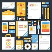 Flat corporate identity template design. Creative vector illustration