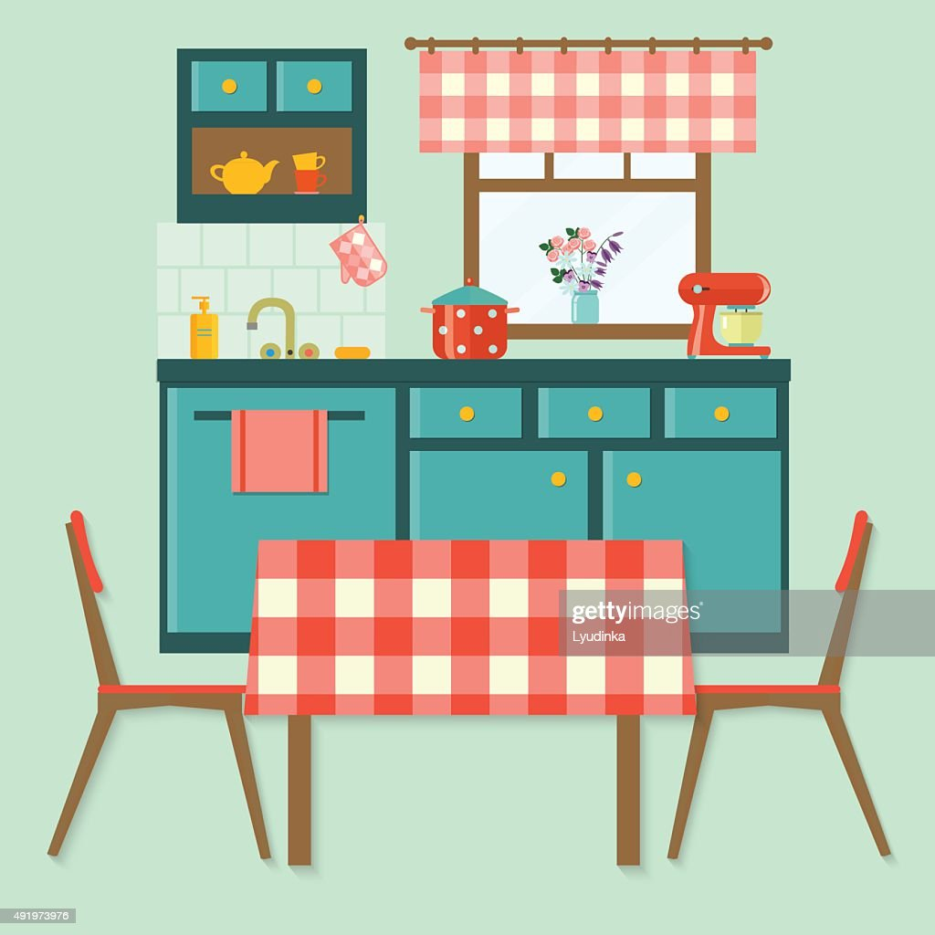 Flat Cozy Kitchen In Rustic Style Vector Illustration Vector Art ...