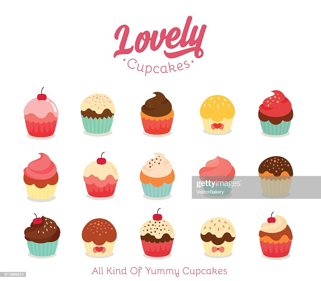 Flat cupcake illustration