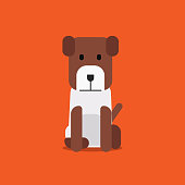 Flat cute dog sitting on background vector.Cartoon puppy design.beagle dog with flat style concept.