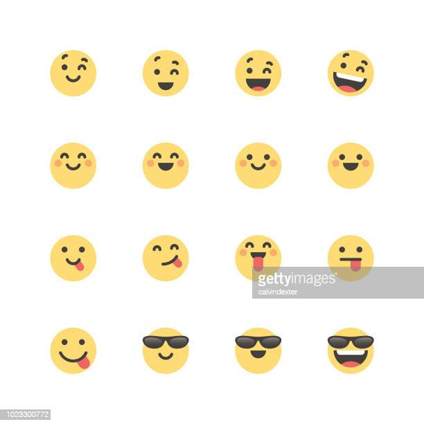 flat cute emoticons set 1 - happiness stock illustrations