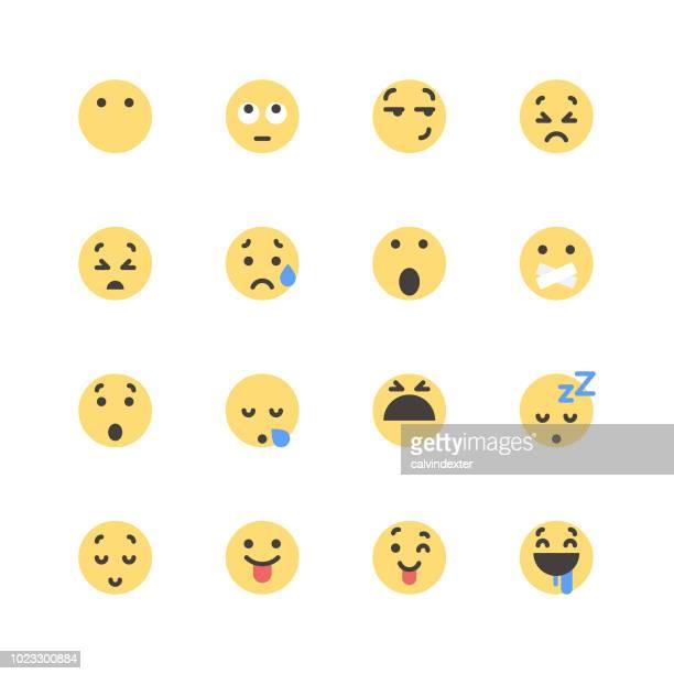 ilustrações de stock, clip art, desenhos animados e ícones de flat cute emoticons set 1 - atitude