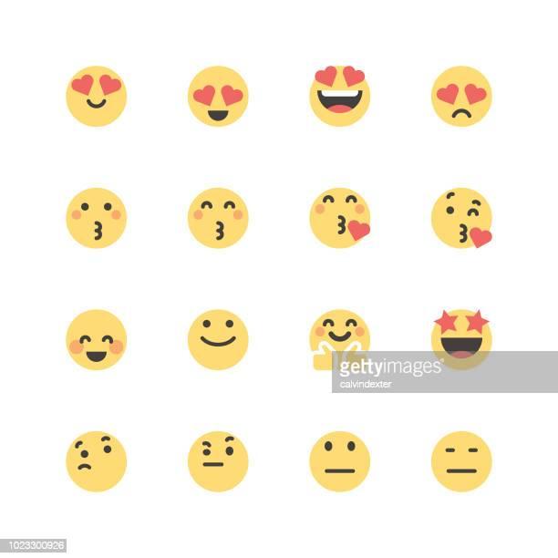 ilustrações de stock, clip art, desenhos animados e ícones de flat cute emoticons set 1 - desconfortável