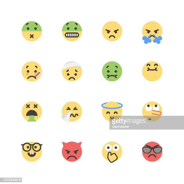 flat cute emoticons set 1 - vomit stock illustrations